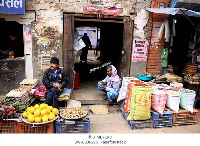 street hawkers in the old city, Nepal, Kathmandu