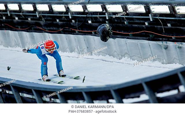 Richard Freitag of Germany slides in the inrun during a training session of the men large hill individual ski jumping at the Nordic Skiing World Championships...