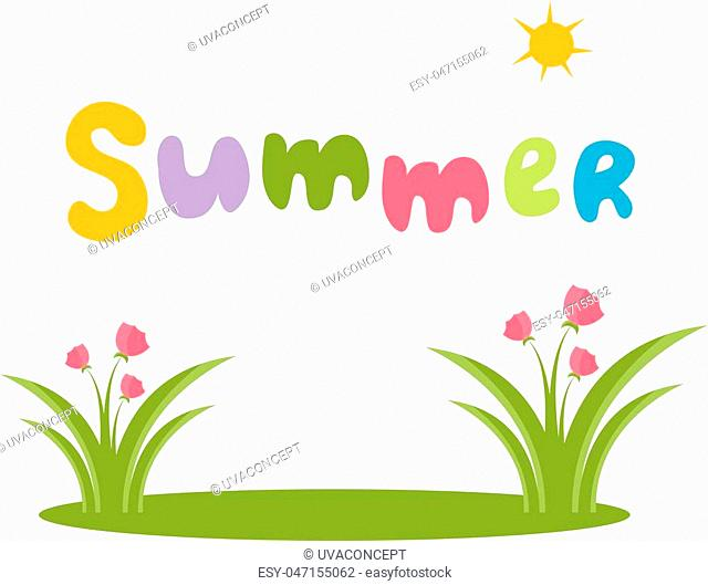 Illustration of text summer with flowers. Vector