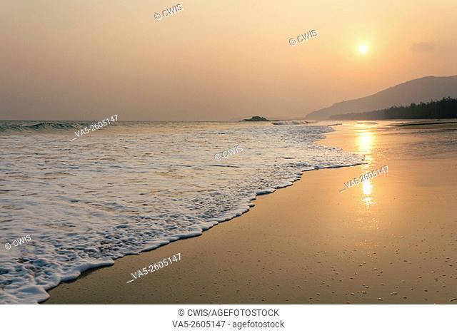 Hainan, China - The beautiful sunset view at beautiful beach