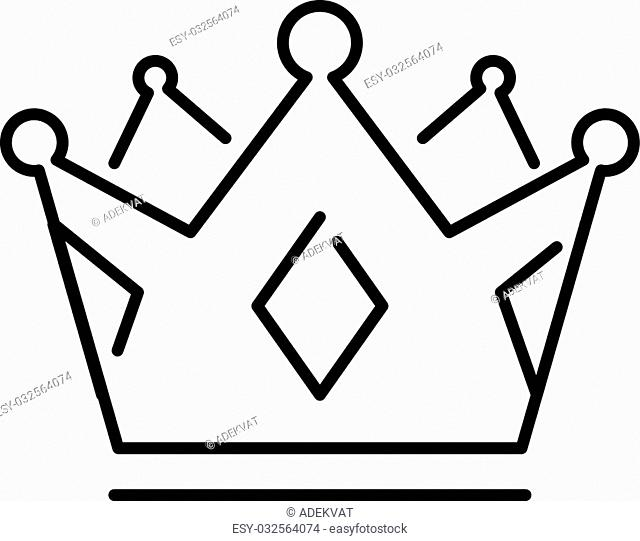 Crown of the king or royal crown line art icon apps websites design label vector. Royal crown line icon and queen crown line icon