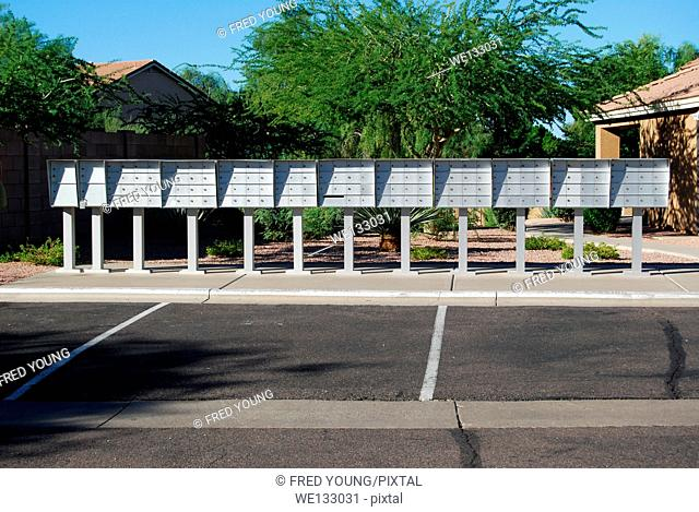 Row of mailboxes in a gated community in Arizona
