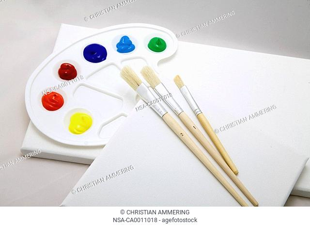 color palette with multicolored acryl colors