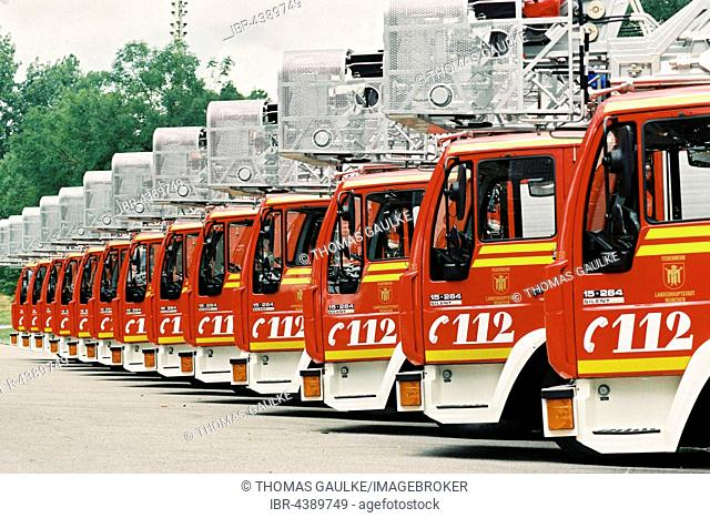 Fire engines lined up, Munich fire brigade, Bavaria, Germany