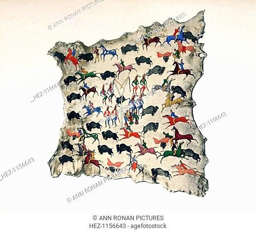 Painting on Moose skin by North American Shoshone Indian, 20th century, showing buffalo hunt. Centre: Shoshoni perform Sun Dance