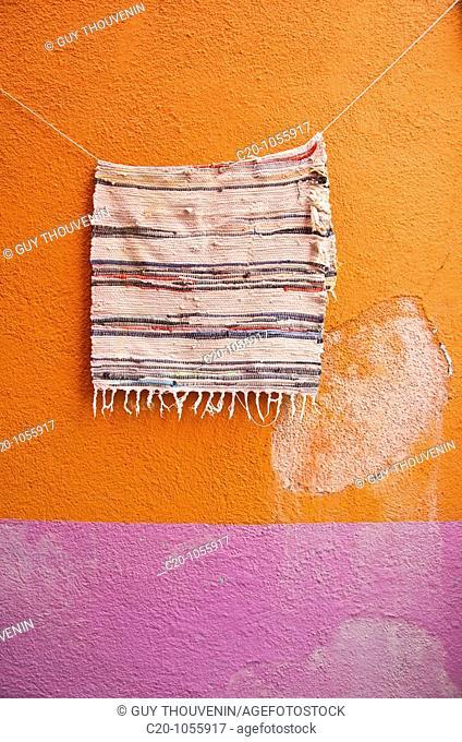 wall and carpet in Burano island Venice Italy