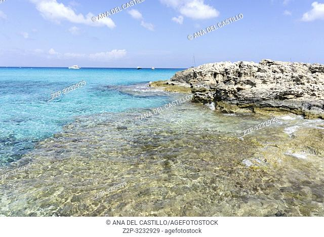 Old port and beach in Es Calo de San Agusti Formentera island Balearic islands Spain