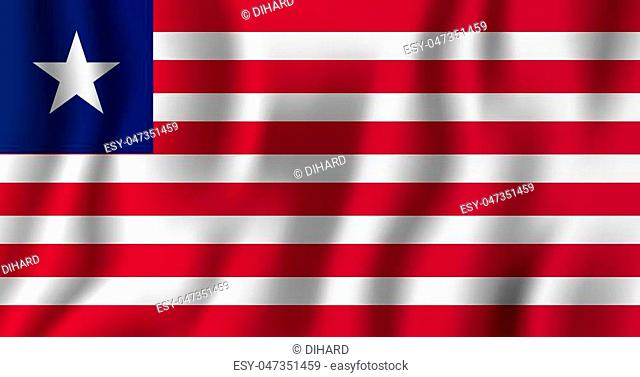 Liberia realistic waving flag vector illustration. National country background symbol. Independence day