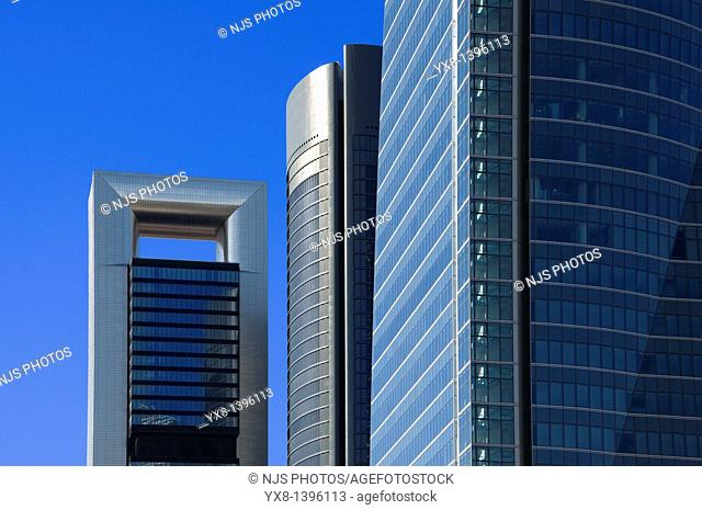 View of Caja Madrid tower, before known as Torre Repsol, located in Cuatro Torres Business Area of Madrid, Comunidad de Madrid, Spain, Europe
