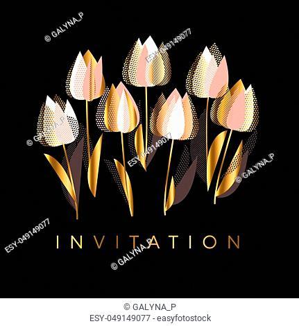 Decorative tulip flowers vector illustration on black backdrop. Elegant floral element for header, card, invitation, poster