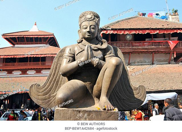 Nepal, Kathmandu, Kathmandu, Durbar Square, Garuda statue front of Trailokya Mohan Temple