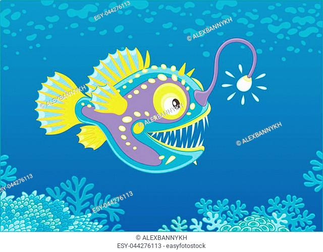 Vector illustration of a deepsea angler fish with its luminous lure, vector illustration in a cartoon style