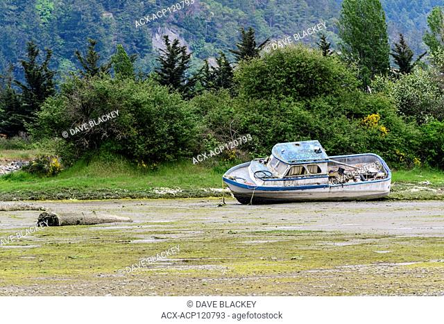 A derelict boat in the estuary in Cowichan Bay, British Columbia, Canada