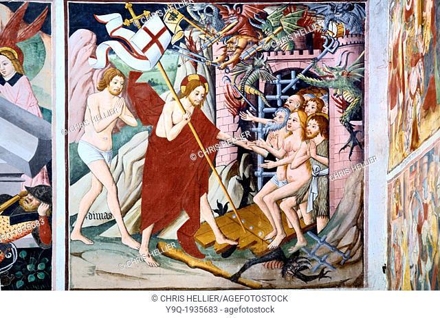 Christ's Descent into Hell Fresco (1492-1530) Notre Dame des Fontaines La Brigue Roya Valley Alpes-Maritimes France