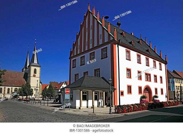 Old Town Hall and Parish Church, Hassfurt, Hassberge district, Lower Franconia, Bavaria, Germany, Europe