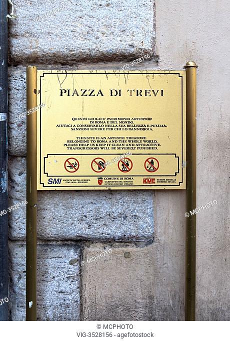 Sign Piazza di Trevi, Rome, Italy - 02/05/2009