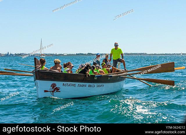Crew of rowers in Taranto, Italy