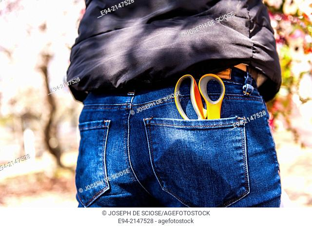 Backview of a woman wearing blue jeans with a pair of scissors sticking out of the back pocket