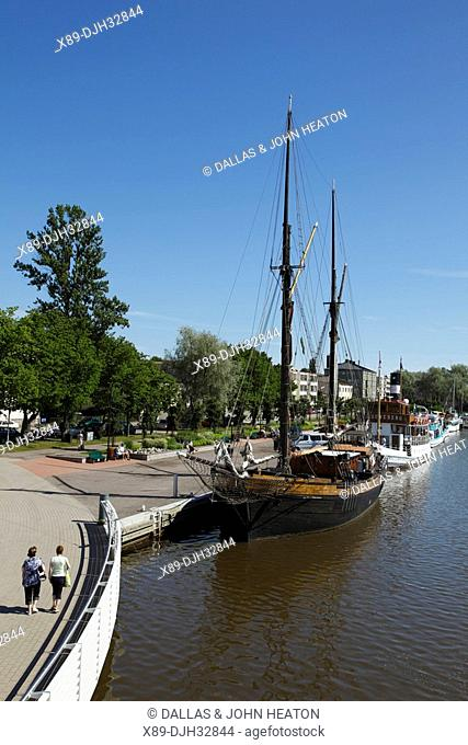 Finland, Southern Finland, Eastern Uusimaa, Porvoo, River Porvoonjoki, Historic Ships Moored on Riverside, Restaurants