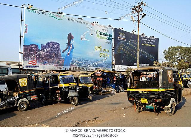 'Tuc tuc' motor rickshaw parking  Agra, Uttar Pradesh, India