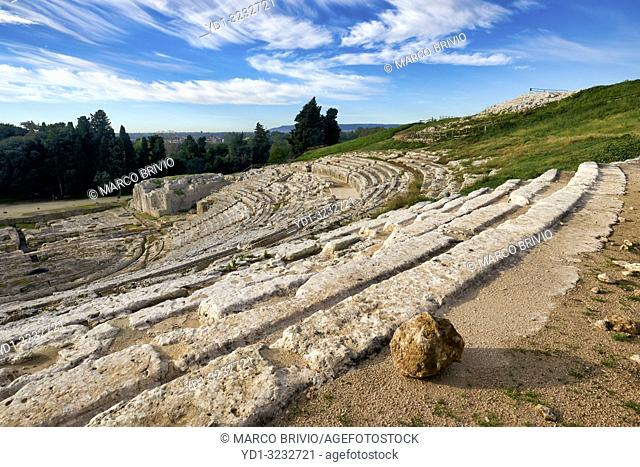 The Greek theatre of Syracuse Sicily Italy lies on the south slopes of the Temenite hill, overlooking the modern city of Syracuse in southeastern Sicily