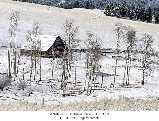 Canada, BC, Bridesville. Solitary barn in frozen winter field