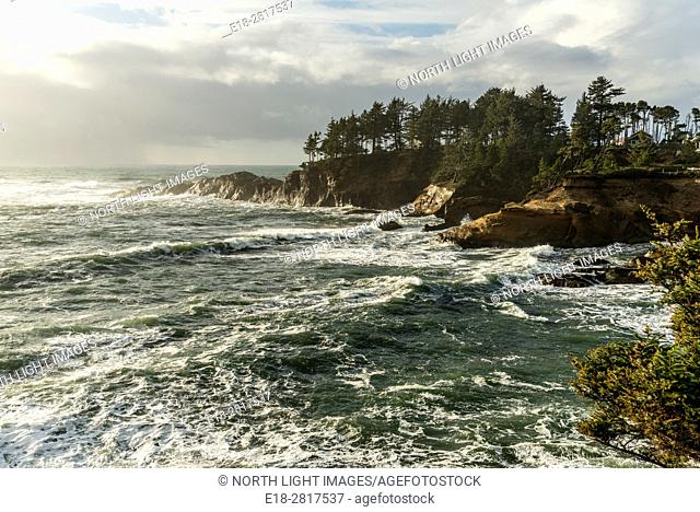 USA, Oregon, Westport. Pounding waves on the shoreline of the Pacific coast