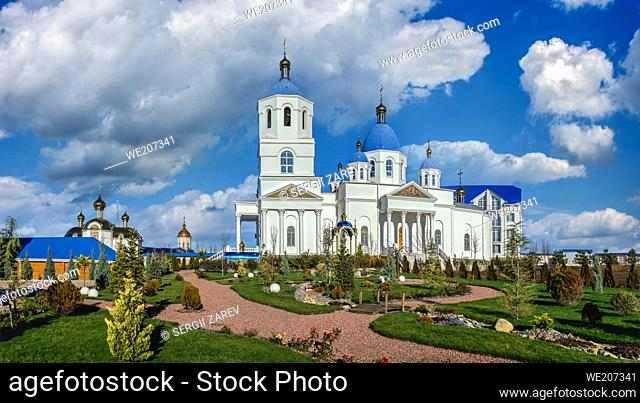 Marinovka village, Ukraine. Holy Protection Skete of the Holy Dormition Odessa Monastery of the Odessa Diocese of the Ukrainian Orthodox Church on a sunny...