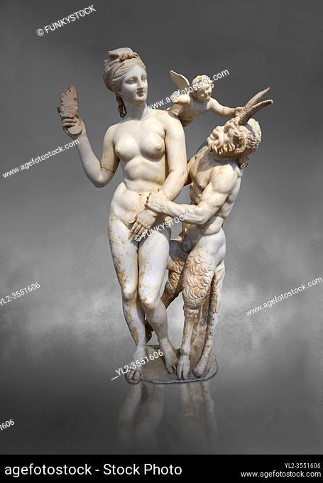 Hellenstic marble statue group of Aphrodite (Venus) with Pan and Eros, Circa 100 BC, House of Poseidonaistai of Beryttos, Delos