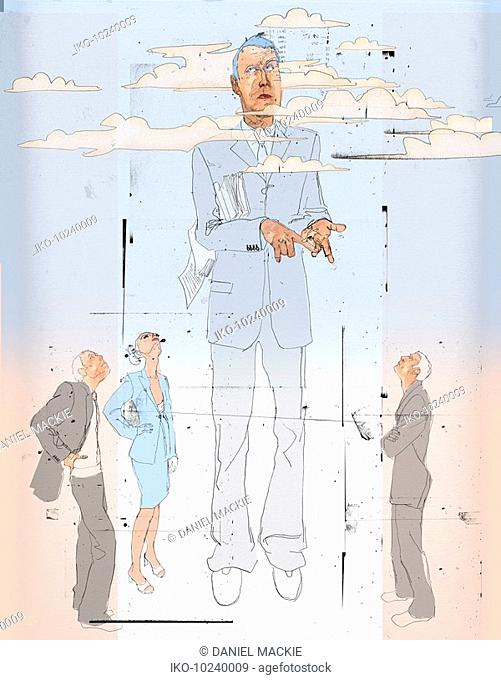 Businessman with head in clouds