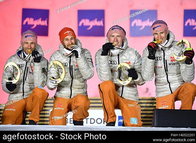 from right: Karl GEIGER, Severin FREUND, Markus EISENBICHLER and Pius PASCHKE with medals. jubilation, joy, enthusiasm, winner
