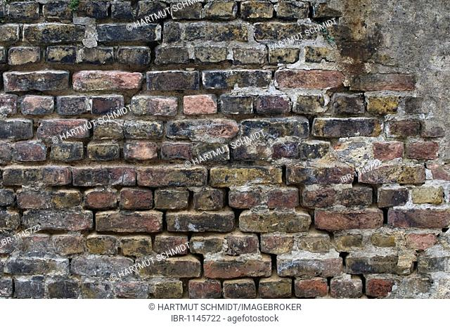 Old brick wall, with limescale runmarks, background