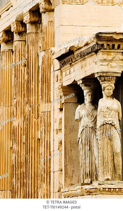 Greece, Athens, Acropolis, Caryatids on Erechtheum