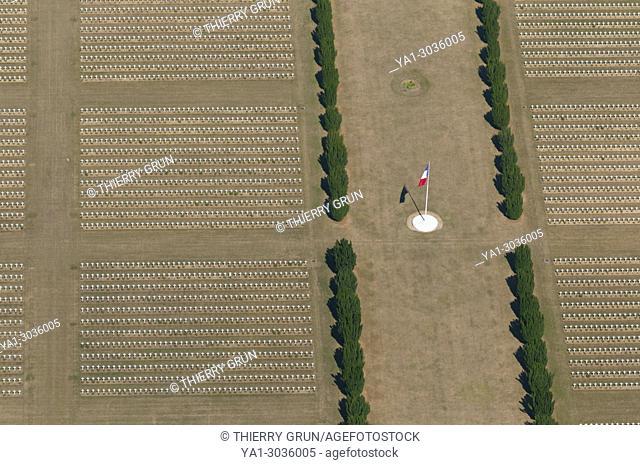 France, Meuse (55), Verdun, WWI battle fields, Douaumont, military cemetary (aerial view)