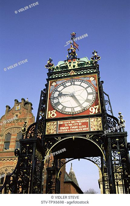 Attraction, Cheshire, Chester, Clock, Eastgate clock, England, United Kingdom, Great Britain, Historical, Holiday, Landmark, Tou