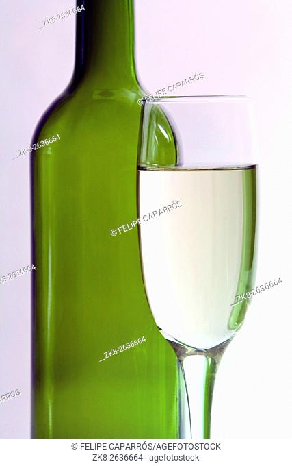 Bottle of wine and Cup isolated on white background
