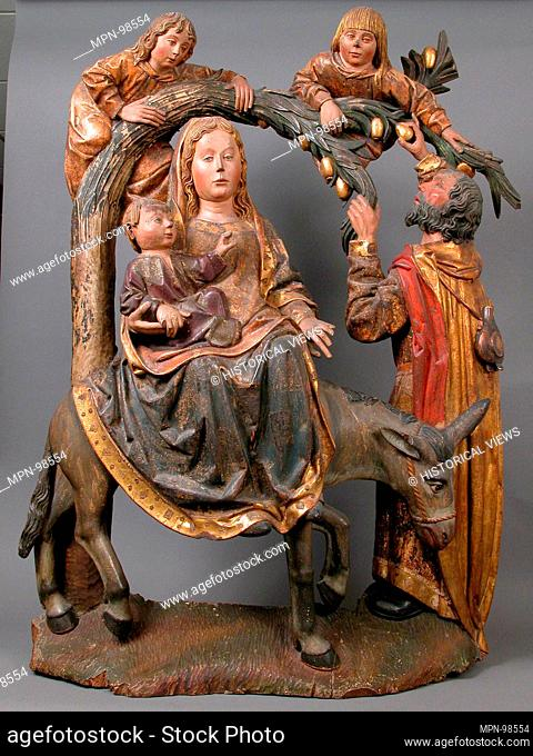 The Miracle of the Palm Tree on the Flight to Egypt. Date: ca. 1490-1510; Geography: Made in Spain; Culture: Spanish; Medium: Walnut, gesso, paint