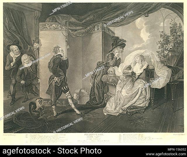 Olivia's House - Olivia, Maria and Malvolio (Shakespeare, Twelfth Night, Act 3, Scene 4). Series/Portfolio: Boydell's Shakespeare Gallery; Engraver: Thomas...