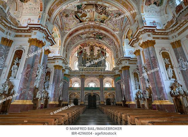Organ loft, St. Mary's Church in the Fürstenfeld monastery, former Cistercian abbey in Fürstenfeldbruck, Bavaria, Germany