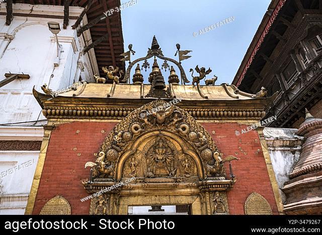 Golden gate of Bhaktapur at Durbar Square in Bhaktapur, Kathmandu valley, Nepal