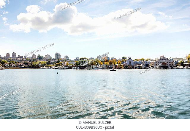 View of harbour and city waterfront, Vancouver, Canada