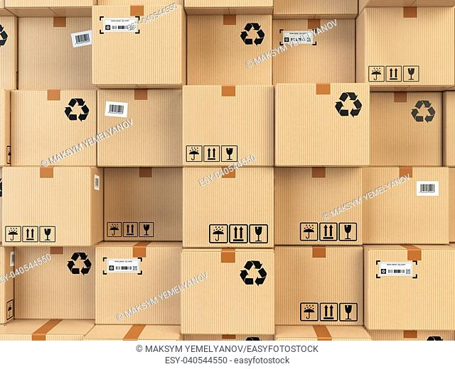 Cardboard boxes backgound. Delivery, cargo, logistic and transportation warehouse storage concept. 3d illustration