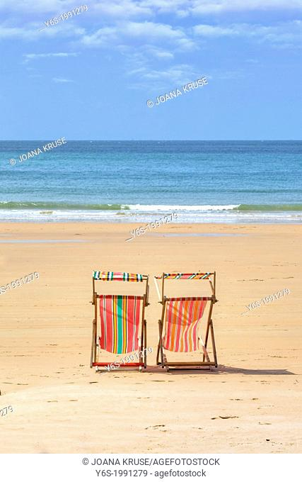 Beach chairs at St Brelade's Bay, Jersey, United Kingdom