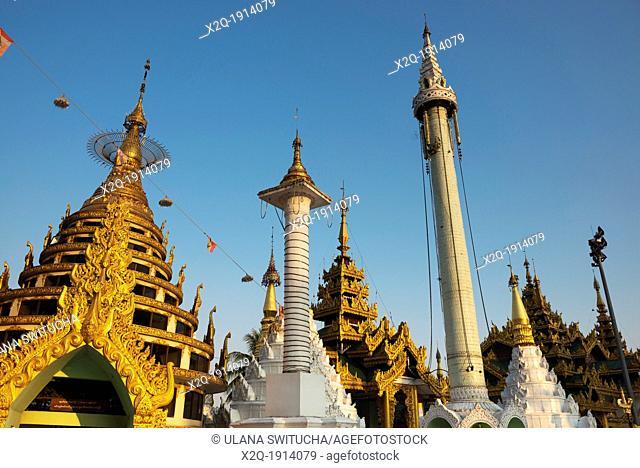 Stupas at Shwedagon Pagoda Yangon Myanmar