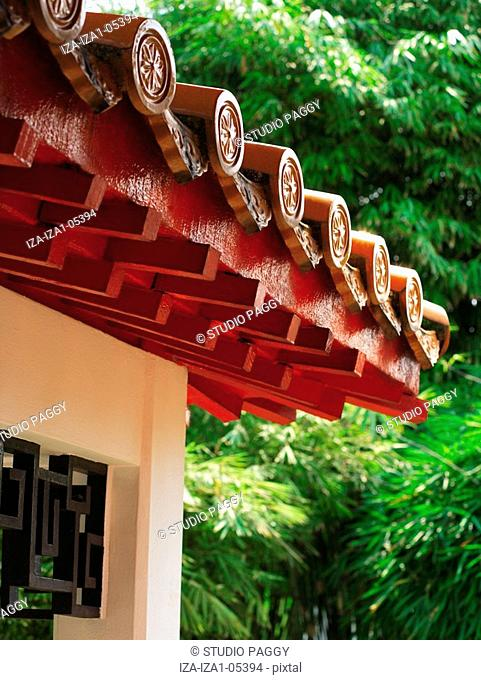 Low angle view of rooftop of a traditional house