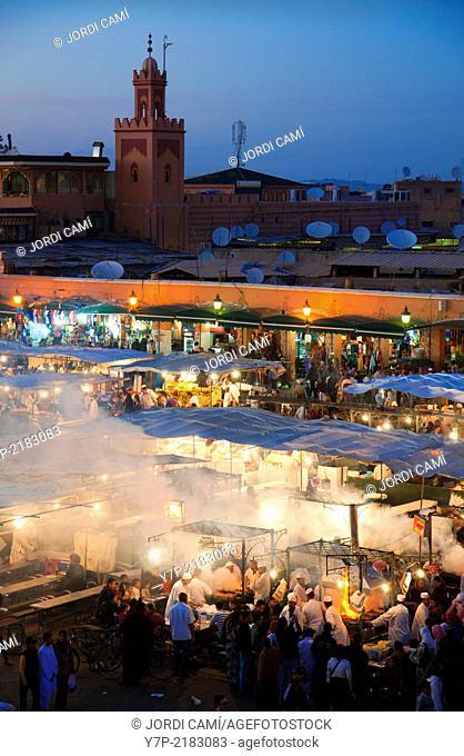 Djemaa El Fna Square, food stalls , Marrakech, Morocco, North Africa