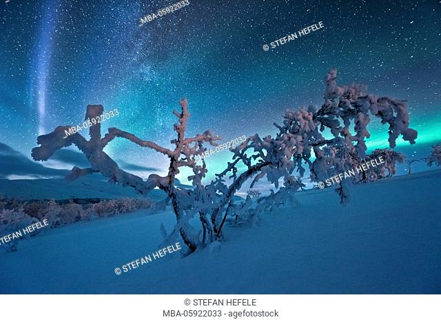 Polar lights with Milky Way, Lapland, Finland