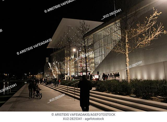 The new Stavros Niarchos Foundation Cultural Centre (SNFCC) in Athens. The centre cost around 600 million euros and was designed by Italian architect Renzo