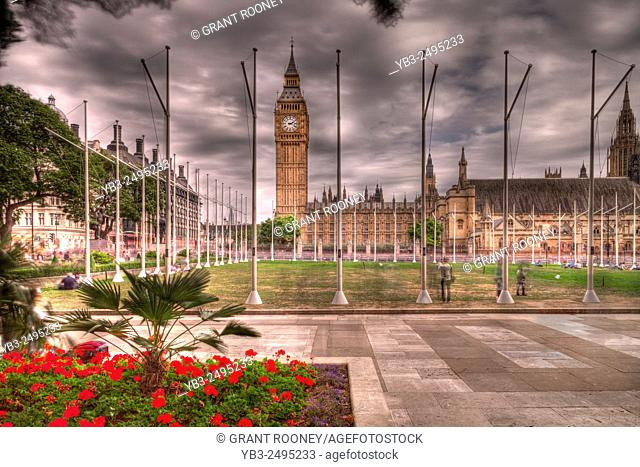 Parliament Square and The Houses Of Parliament, London, England