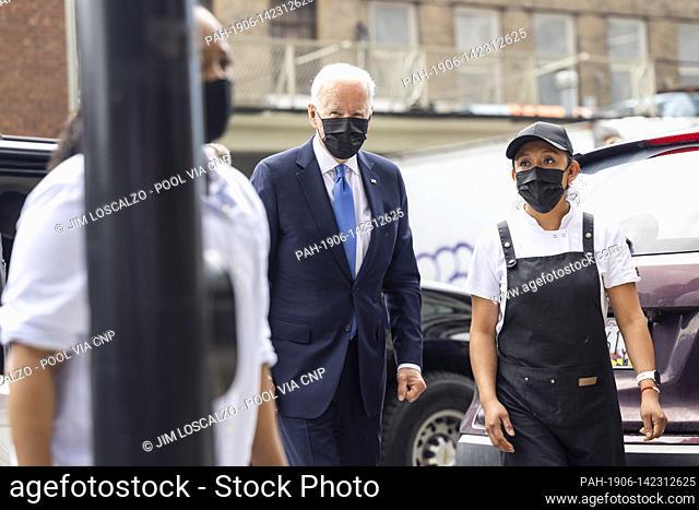 United States President Joe Biden arrives to pick up tacos during a visit to Las Gemelas Restaurant in Washington, DC, USA, 05 May 2021